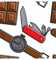 swiss symbols seamless pattern chocolate knife and vector image vector image