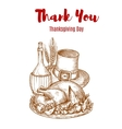thank you thanksgiving greeting card sketch vector image