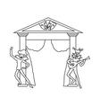Theater stage with open curtains and actors icon vector image vector image