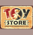 toy store vintage metal sign vector image vector image