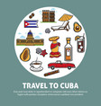 travel to cuba promotional poster with national vector image vector image