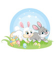 two easter bunnies running on spring grass vector image