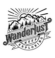 wanderlust emblem t shirt design vector image vector image