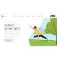yoga flat landing page template woman vector image vector image