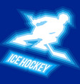 player with hockey-stick rides fast on skates vector image