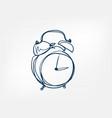 alarm clock one line design element isolated vector image