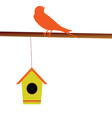 bird with its house vector image vector image
