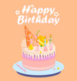 birthday cake with shells different colors vector image vector image