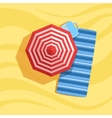 Blanket Case And Umbrella Spot On The Beach vector image