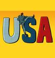 businessman man climbs across border usa word vector image vector image