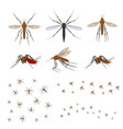 cartoon color different mosquito icon set vector image vector image