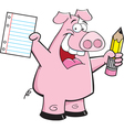 Cartoon Student Pig vector image vector image
