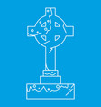 celtic cross gravestone icon outline style vector image vector image