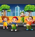 children on sidewalk with urban scene vector image vector image