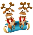Christmas deers with sledge vector image vector image