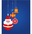Christmas greeting card with santa and ornaments vector image vector image