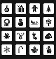 christmas icons set squares vector image