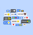 cloud of messages with cute emoji speech bubbles vector image