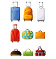 collection of colorful suitcases traveler luggage vector image