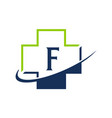 cross healthcare letter f vector image vector image