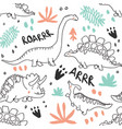 cute dinosaurs and tropic plants seamless pattern vector image vector image