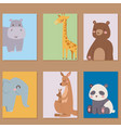 cute zoo cartoon animals cards funny wildlife vector image vector image