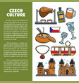 czech culture symbols and prague landmarks vector image vector image