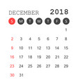 december 2018 calendar calendar planner design vector image