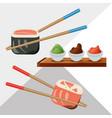 delicious sushi japanese dish menu restaurant vector image