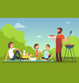 family at summer picnic people in bbq party vector image vector image