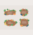 farmers market banners on a wood background vector image