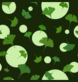 ginkgo seamless pattern on dark background with vector image