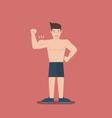 gym fitness muscular cartoon man shirtless flat vector image vector image