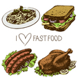 Hand drawn fast food set vector image vector image