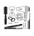 hand drawn hair tools creative ink vector image