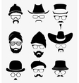 hats with sunglasses and mustache vector image