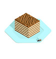 honey cake in isometric style vector image vector image