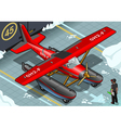 Isometric Artic Hydroplane Landed in Front View vector image vector image