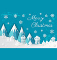 merry christmas paper cut mountains and city vector image vector image