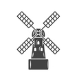 Mill old fashioned windmill Black icon logo vector image vector image
