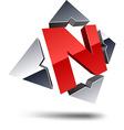 N 3d letter vector image
