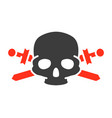 pirate skull with crossed swords colored icon vector image vector image
