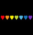 rainbow heart icon set line pattern lgbt sign vector image