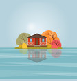 red wooden house on lake vector image vector image