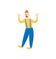 scary red hair clown with yellow shoes and shirt vector image vector image
