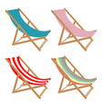 set deck chair different colors on a white vector image vector image