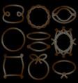 set of golden marine rope frames vector image vector image