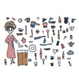 set of kitchen equipments in doodle style vector image