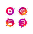 social media icons chat speech bubble and globe vector image vector image