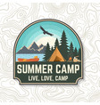 summer camp concept for patch print vector image vector image